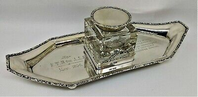 George V Top Quality Sterling Silver Inkstand Inkwell Lee & Wigfull 1912