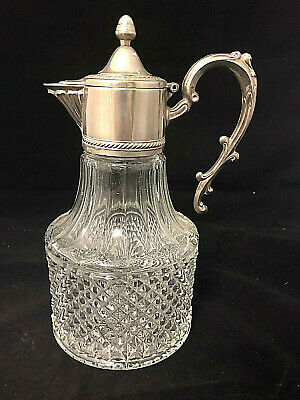 COLLECTORS: CUT GLASS SILVER PLATED Claret Jug $1 START
