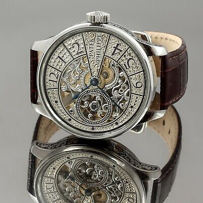 Patek Philippe movement SWISS Silver Dial Hand Engraved  Skeleton Watch 47 mm