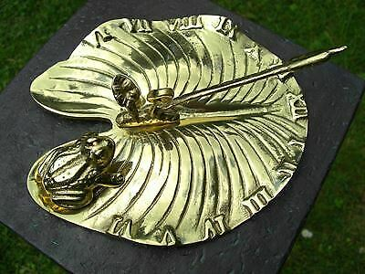 Solid Polished Brass Lily Pad & Bullrush Garden Sundial