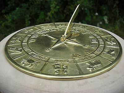 Antique Zodiac Horoscope Sundial - Solid Brass