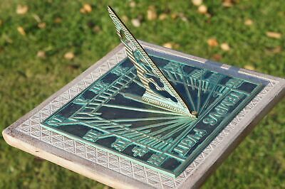 Solid Brass 'Tempus Fugit' Sundial - Antique Verdigris Finish