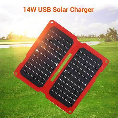 14W 5V USB Solar Panel Charger ETFE Laminated for Phone Hiking Outdoor Activity