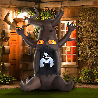 HOMCOM 8' LED Outdoor Halloween Inflatable Decor- White Ghost Dead Tree