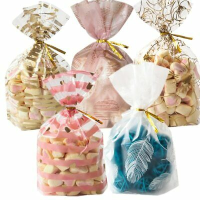 100x Candy Plastic Cookie Bags Self adhesive Smile Packaging Face Party Bak L6D1