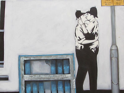 Banksy style large oil painting gay police men lesbian modern contemporary art