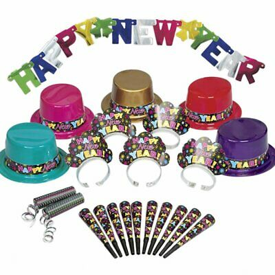 Happy New Years Eve Party Kit Hats Blowers Horns Tiaras Streamers Banner