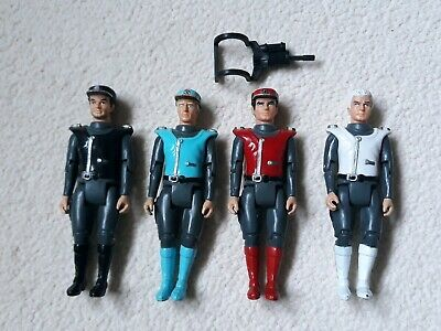 """4 Action figures captain scarlet /blue/black/colonel white  3.5""""  1993 used"""