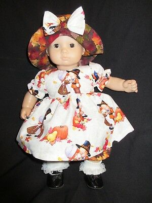 """Bitty Baby Doll Clothes Handmade to Fit 15"""" Thanksgiving Pilgrim Dress Pants Hat"""