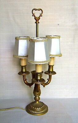 Pfine Antique Large French Gilt Bronze 3 Branch Bouillotte Lamp, Light.