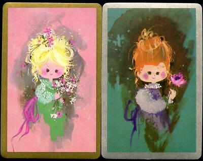 Beautiful Vintage Swap Cards Pink Girl And Green Girl  Excellent Condition