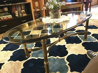 Vintage Hollywood Regency MCM Brass Oval Cocktail Coffee Table Beveled Glass
