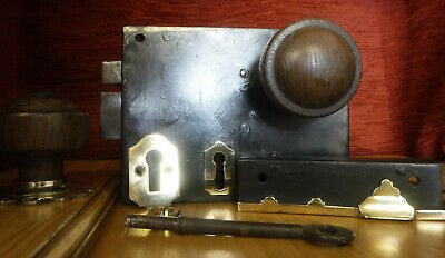 Antique Restored & Refurbished Vintage Door / Rim Lock & Handles with Key & Keep