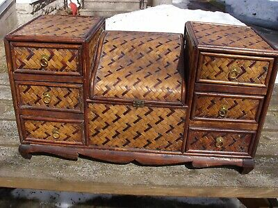 Antique Bamboo & Rosewood Tabletop Chest