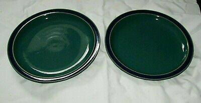 2 x Large Denby 'HARLEQUIN' Dinner Plates - 26cm  (Green With Blue Rims)