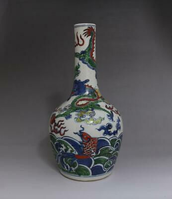 Superb Antique Porcelain Chinese Blue and White Vase Qianlong Marked-fish