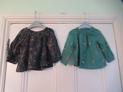 6-9m: 2 pretty floral tops/blouses: Blue/Green embroidered: NEXT: Good condition