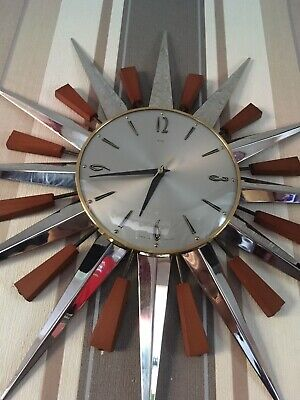 Reduced METAMEC Sunburst Clock 60/70's German Movement Working Chrome And Brass
