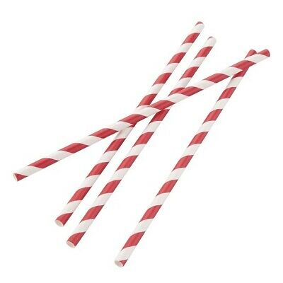 Fiesta Green Biodegradable Paper Straw Red Stripes (Pack of 250) (Length 210 mm)