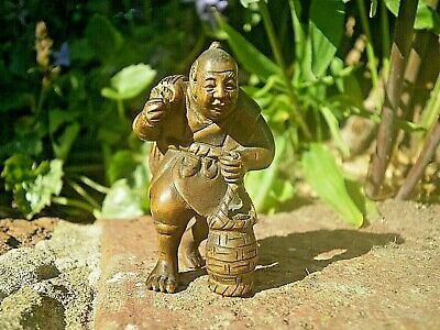 Hand Carved wood netsuke Fisherman with net & basket Collectable wood figure  .2