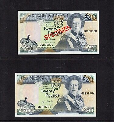 """Rare Pair Of Jersey £20 Notes. First Issued 1993 """" Black """" Unc"""