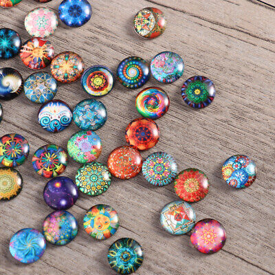 200Pcs Glass Mixed Round Mosaic Tiles Crafts Supplies fr Jewelry Making 12mm NEW