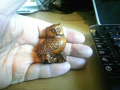 Hand Carved wood netsuke owl caught mice pair collectable boxwood figurine  ..2