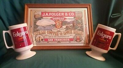 Vintage Folgers Coffee 3 pc Set. 2 Mugs 1 Mirror - Collectible for Coffee Lovers