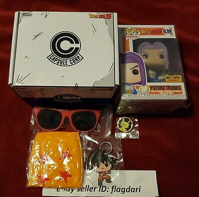 Funko Dragon Ball Z Capsule corp BOX Future Trunks Hot Topic with pop protector