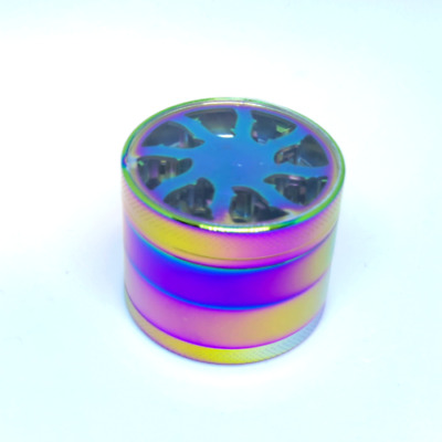 NEW RAINBOW SHARK GRINDER 50mm 4 Part Metal Herb Magnetic Pollinator Crusher