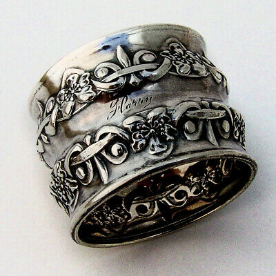 Repousse Floral Waisted Napkin Ring Sterling Silver 1900