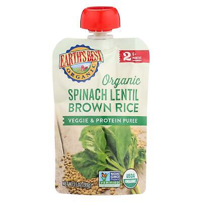 Earths Best Organic Spinach Lentil Brown Rice Veggie & Protein Puree CS/12 3.5oz