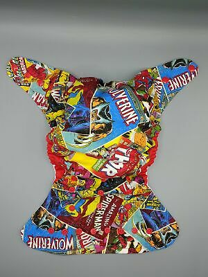 SassyCloth one size pocket cloth diaper with super heroes cotton print.