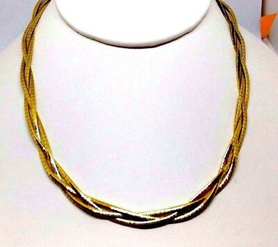 """14K yellow gold braided OMEGA necklace 16.5"""" long 4.74 MM WIDE  ITALY #"""