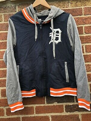 best sneakers a4174 06a58 DETROIT TIGERS BASEBALL Zip Up Hoodie MLB Navy New Era Women's Large