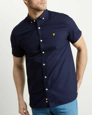 Lyle and Scott NAVY blue short sleeve oxford shirt RRP £50 free postage