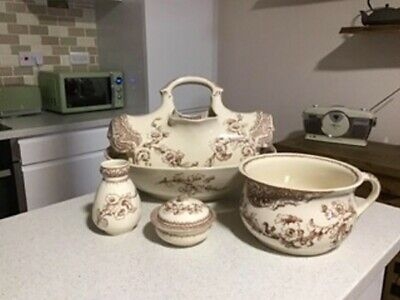 Victorian Dressing Table Wash Set Bowl Jug Potty Soap Dish Toothbrush Holder