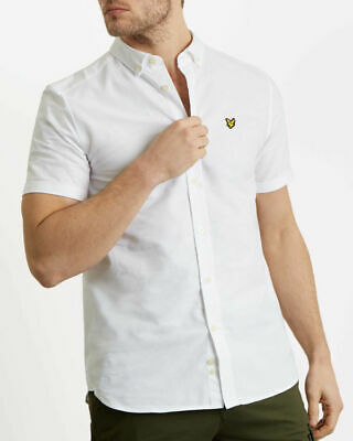 Lyle and Scott WHITE short sleeve oxford shirt RRP £50 free postage