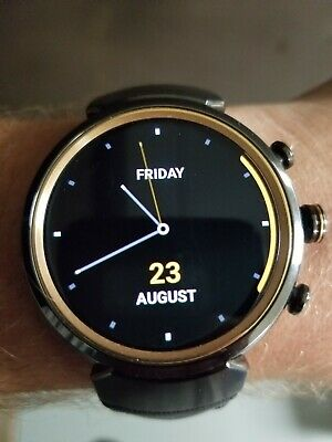 ASUS ZenWatch 3 Android Wear Smartwatch Gunmetal Dark Brown Leather Gently Used