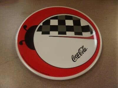 Gibson Dinnerware Coca Cola Design Black Checks Coke LADYBUG Dinner Plate 1999