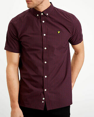 Lyle and Scott true black and wine short sleeve gingham shirt RRP £55 free post
