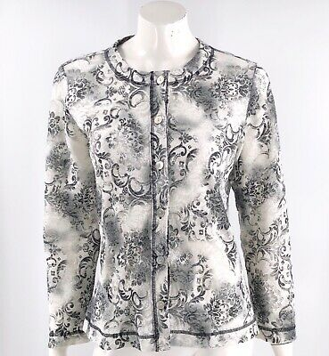 Laura Ashley Lace Top Size Medium Gray White Long Sleeve Button Up Shirt Womens