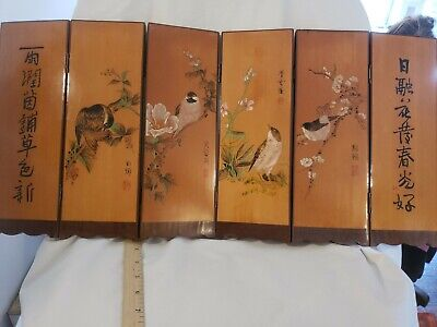 Vintage Asian Hand Carved and Painted Signed Wooden Bird Screen Awesome Artwork!
