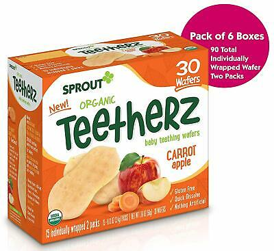 Sprout Organic Baby Food Teetherz Carrot Apple Teething Wafers, 6Count