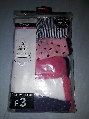 Girls Briefs 5 Pairs Shorts 100% Cotton 10-11yrs New