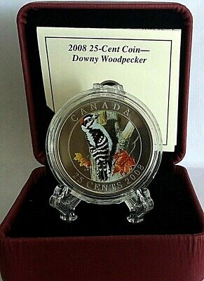 2008 Canada 25¢ Cent Colored Coin  Downy Woodpecker In Capsule With Coa & Box