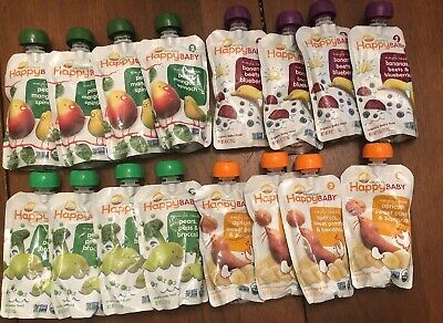 Happy Baby Organic Baby Food - Stage 2 -Variety Pack- 16 4oz Packages