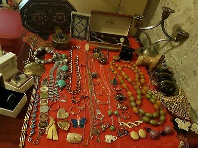 Joblot Of Vintage Jewellery And  Curios, Opal Earrings, Pandora Bead, Beswick.