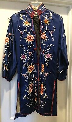 Vintage Antique Asian Chinese Embroidered Silk Blue Floral Women's Robe Coat