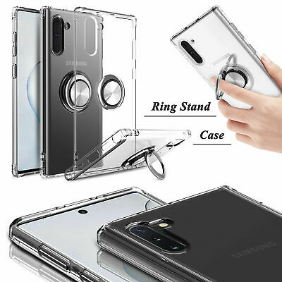 For Samsung Galaxy Note 10/10+ Plus 5G Slim Clear Case Ring Holder Stand Cover